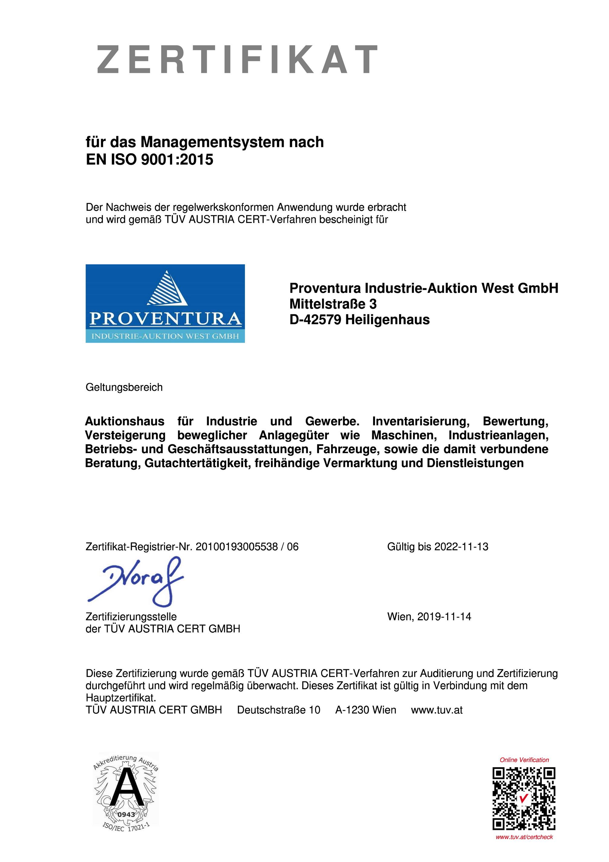 Zertifikat Proventura West